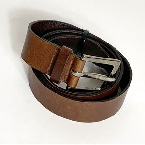 Mixit Brown Leather Belt Brushed Nickel Buckle